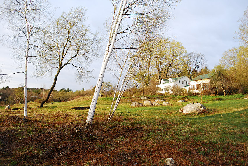 View of Flower Hill Farm Retreat from North Field in Spring